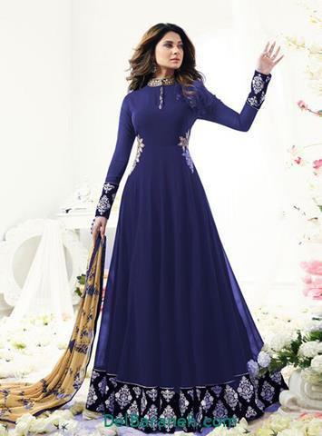 مدل لباس مجلسی آستین دار بلند آبی