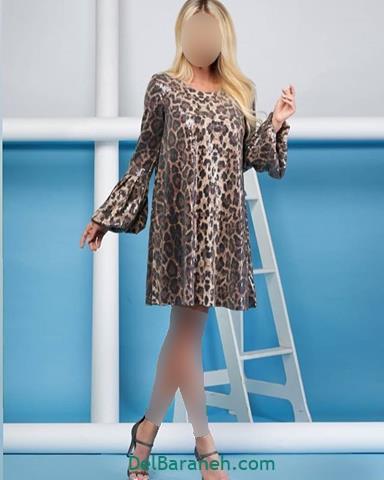 مدل لباس مجلسی آستین دار پلنگی
