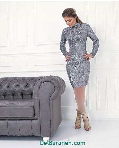 مدل لباس مجلسی آستین دار پولکی شیک