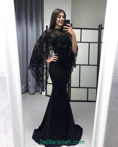 مدل لباس مجلسی آستین دار گیپور شیک