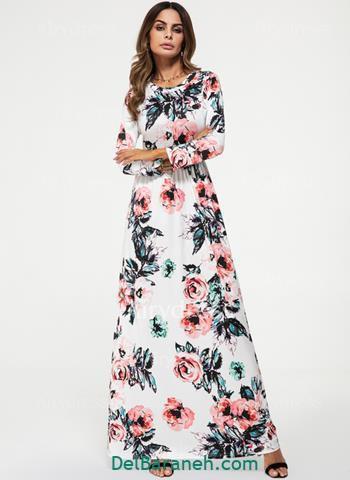 مدل لباس مجلسی آستین دار سفید گلدار