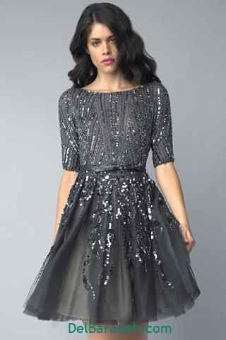 مدل لباس مجلسی آستین دار کار شده
