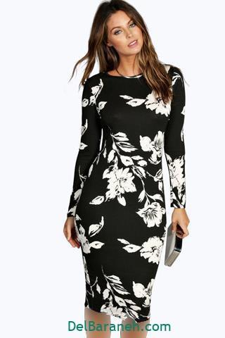 مدل لباس مجلسی آستین دار مشکی گلدار
