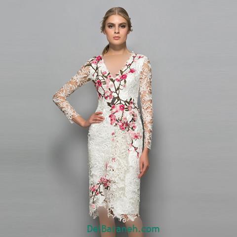 مدل لباس مجلسی آستین دار گیپور گلدار