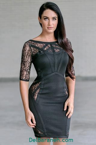 مدل لباس مجلسی آستین دار توری سیاه