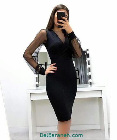مدل لباس مجلسی آستین دار مشکی کوتاه