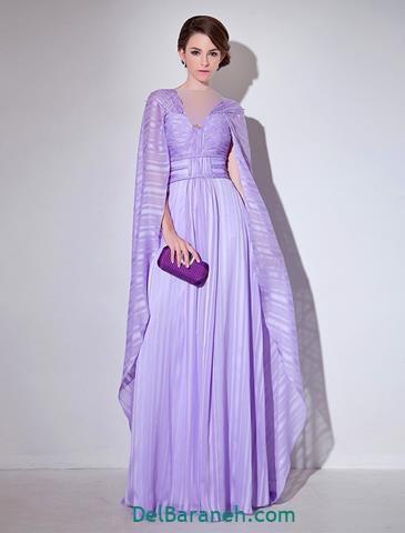 مدل لباس مجلسی آستین دار یاسی