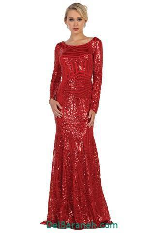 مدل لباس مجلسی استین دار کار شده قرمز