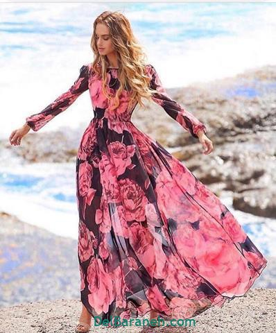 مدل لباس مجلسی آستین دار اینستاگرام