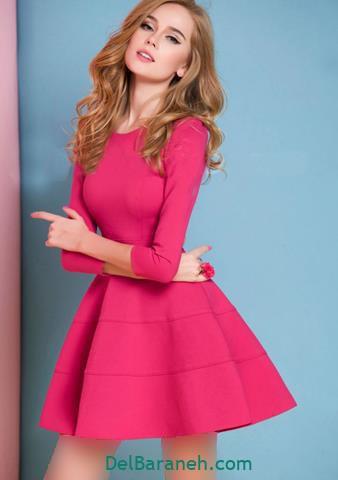 مدل لباس مجلسی استین دار صورتی دخترانه