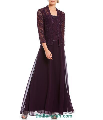 مدل لباس مجلسی آستین دار توری بادمجونی