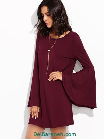 مدل لباس مجلسی آستین دار با رنگ زرشکی