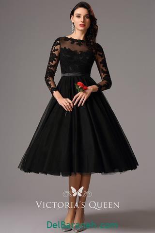 مدل لباس مجلسی استین دار با پارچه پولکی