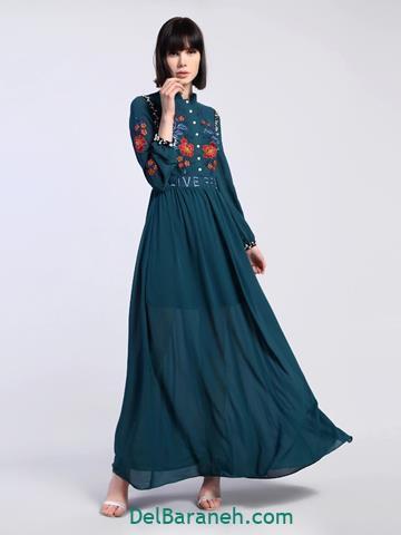 مدل لباس مجلسی پولکی استین دار