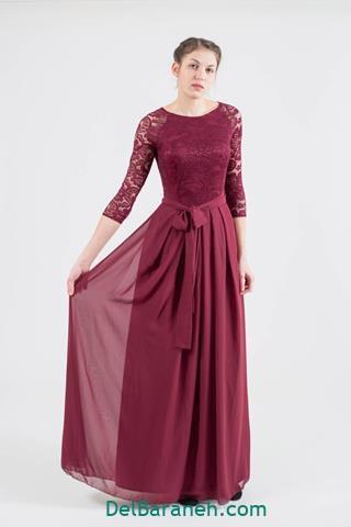 مدل لباس مجلسی استین بلند گیپور