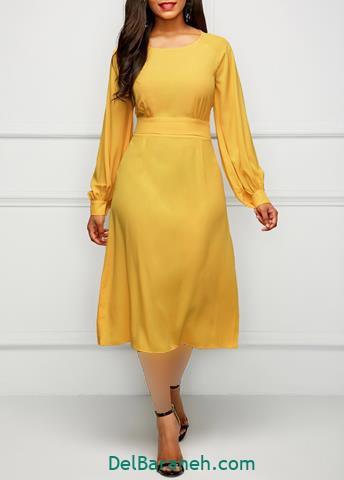 مدل لباس مجلسی آستین دار بلند رنگ زرد