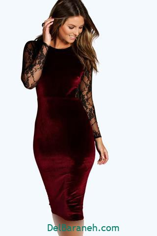 مدل لباس مجلسی آستین دار بلند مخملی