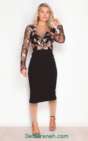 مدل لباس مجلسی بلند آستین بلند