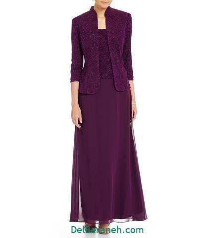 مدل لباس مجلسی استین دار بلند کرپ