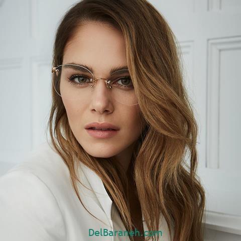 مدل عینک طبی دخترانه برای صورت کشیده