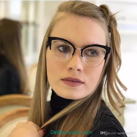 مدل عینک طبی دخترانهبا فریم مشکی شیک