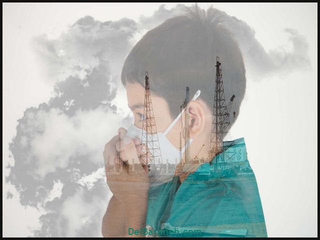Multiple Exposure Of Boy Wearing Pollution Mask Against Sky