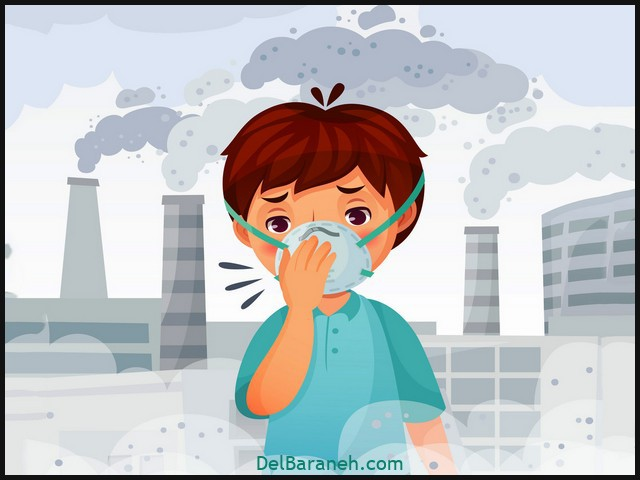 Boy wearing N95 mask. Dust PM 2.5 air pollution, young men breath protection and safe face mask cartoon vector illustration
