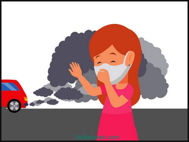 girl wearing mask to protect against vehicle air pollution clipart