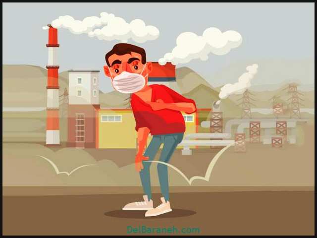 Man in protective mask. Polluted air. Vector flat cartoon illustration