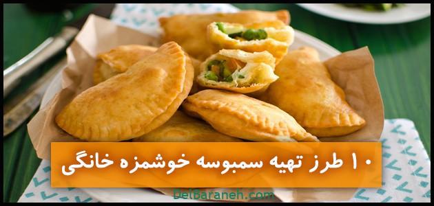 ۱۰ طرز تهیه سمبوسه (مرغ،گوشت،پیتزایی،سبزیجات،پنیر،سیب زمینی،هندی)