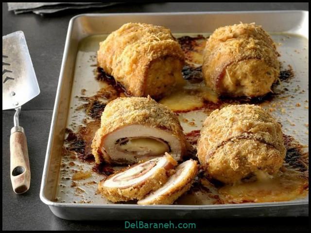 طرز تهیه کوردن بلو مرغ (درون فر و سرخ شده ) + ۳ سس مخصوص